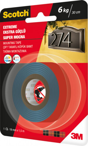 Traka za montažu Scotch EXTREME, 19mm x1,5m