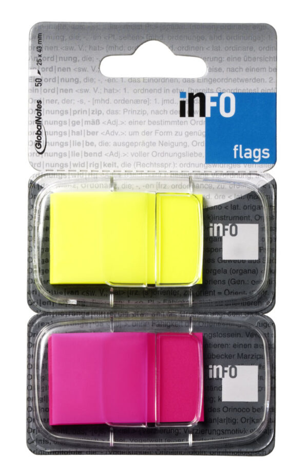Page marker INFO FLAGS , 2x50l žuto-roze